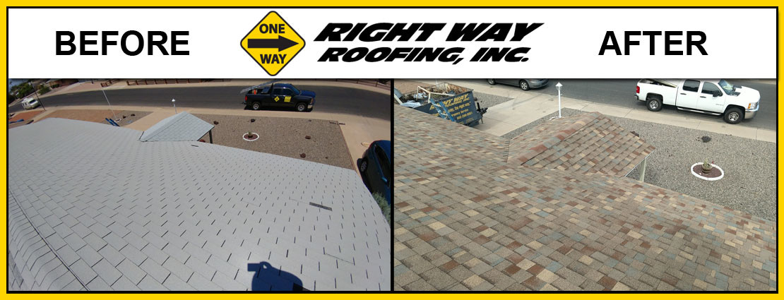 Shingle Roof Replacement Installation Mesa Before & After Photo